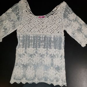 Body Central Cream Lace Pullover S NWOT
